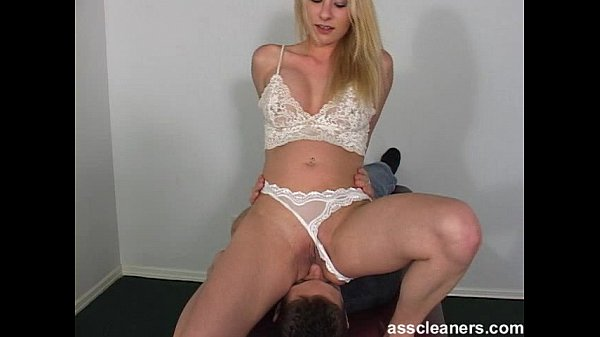 Ass cleaner sings while licking mistress' ass hole