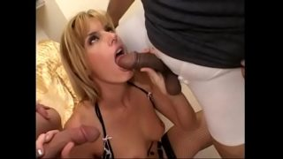 Blondie Rarryl shoves a white cock in her mouth while getting fucked by a black stud
