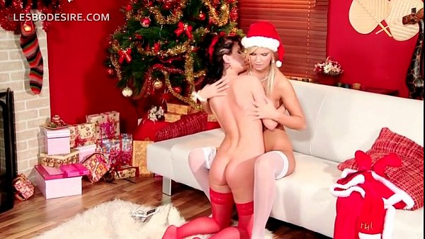 Lesbian duo gifting each other with oral sex on Xmas