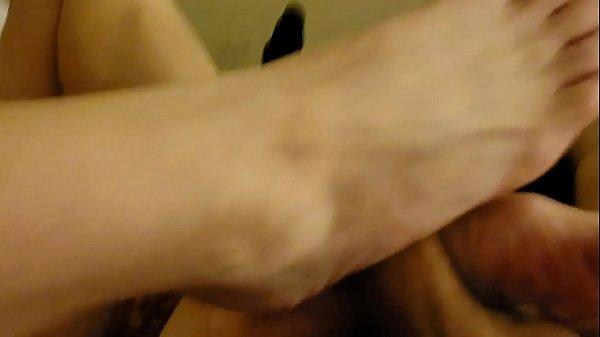 Slut Gf gives footjob