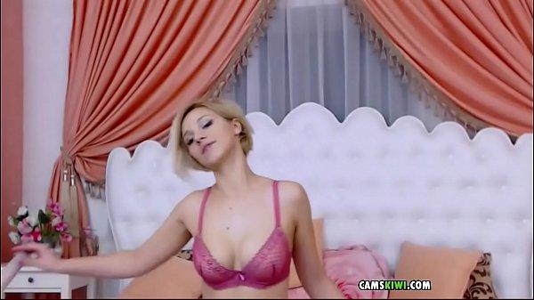Webcams hot petite blonde from camskiwi.com  suck her dildo