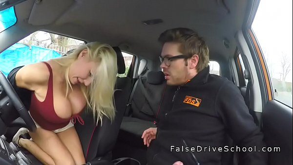 Huge boobs driving student doing big cock
