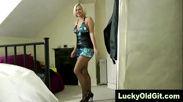 Old guy plays with mature flirty blondes in fishnets pussy