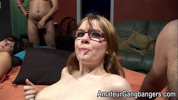 Teen in glasses lets older guys cum in her mouth