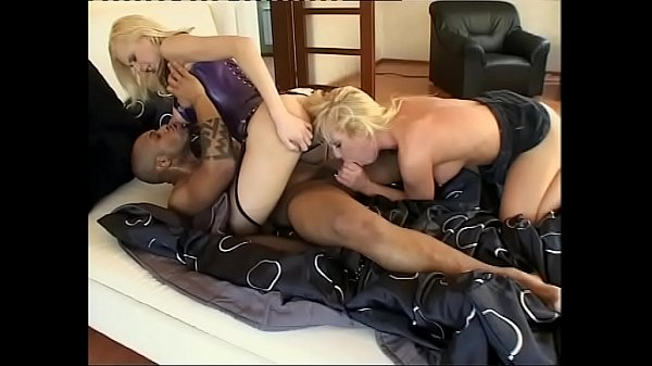 Two unleashed blondes make happy a man